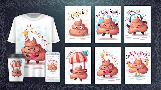 Poop cartoon tier illustration kartensatz und merchandising. Premium Vektoren