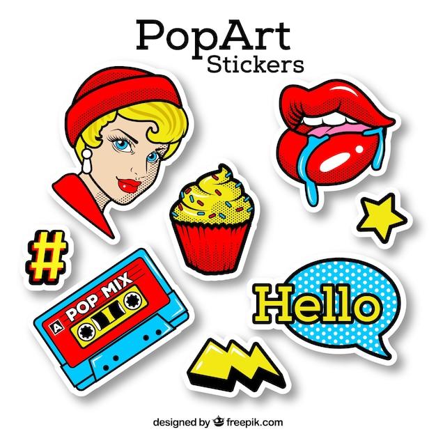 Pop-art-aufkleber mit klassischem stil Kostenlosen Vektoren