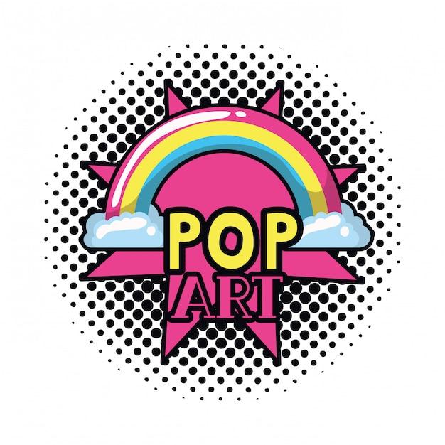 Pop-art aufkleber regenbogen mit wolken Premium Vektoren