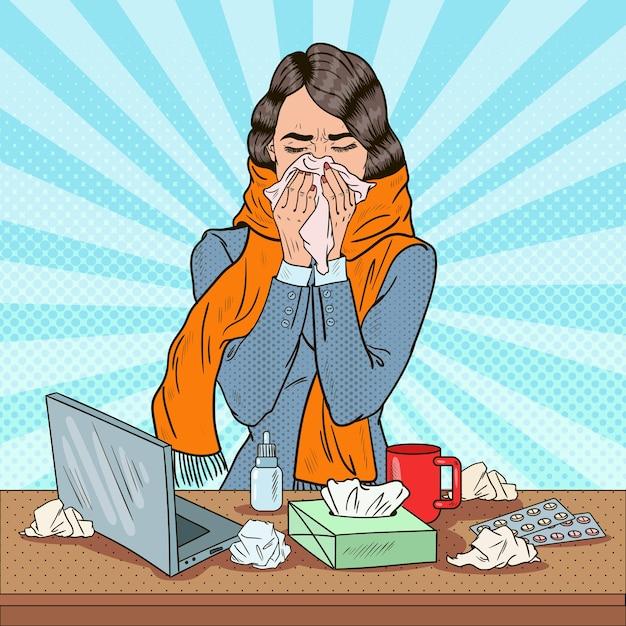Pop art business frau niesen bei der arbeit mädchen fühlen sich krank Premium Vektoren