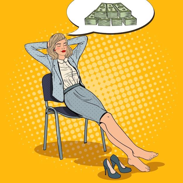 Pop art business woman entspannen und träumen über geld. Premium Vektoren
