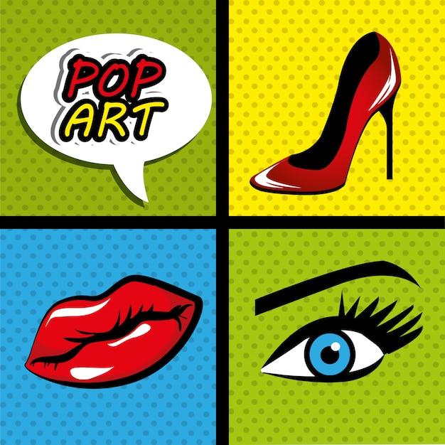 Pop-art-cartoon-grafiken Premium Vektoren