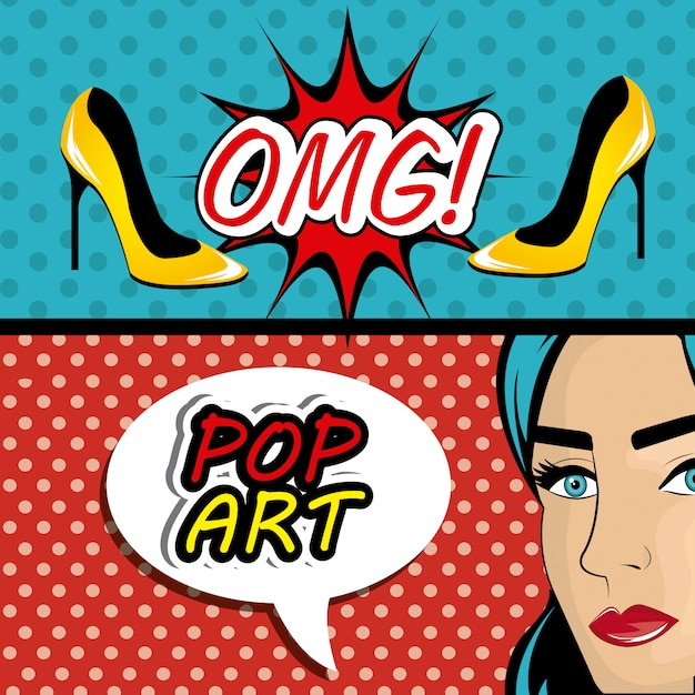 Pop-art-cartoon-grafiken Premium Vektoren