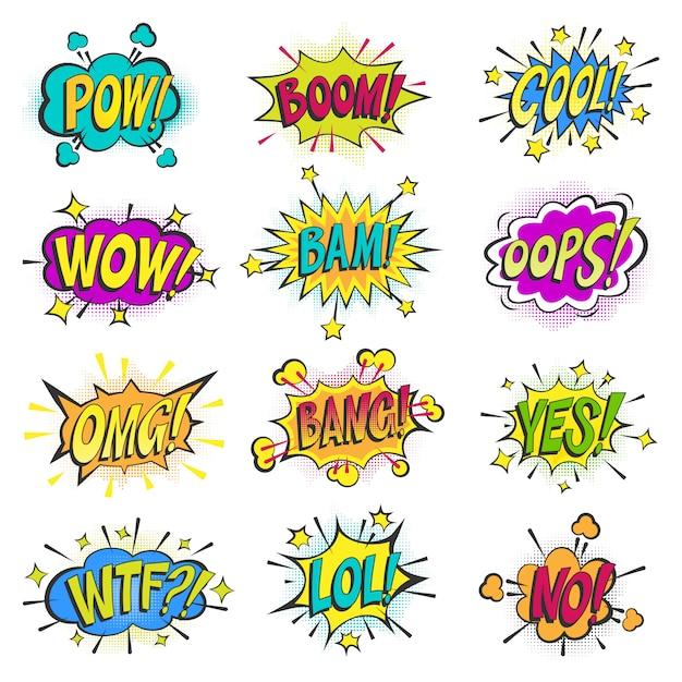 Pop-art-comic-blasen cartoon-popart-ballon sprudelnde bunte sprachwolke asrtistische comic-formen auf weißer hintergrundillustration Premium Vektoren