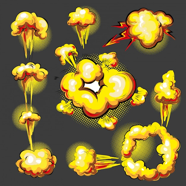 Pop-art-comic-stil explosionseffekt animationsset Premium Vektoren