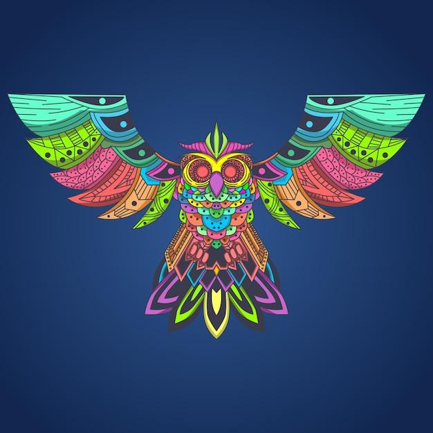 Pop-art der fliegenden eule colorfull Premium Vektoren