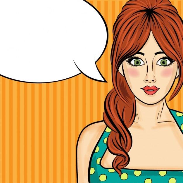 Pop-art-frau comic frau mit sprechblase Kostenlosen Vektoren