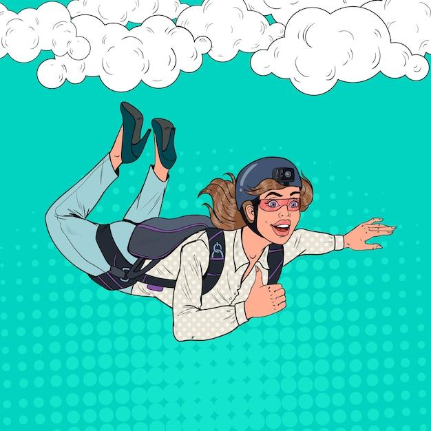 Pop art geschäftsfrau fliegt mit fallschirm Premium Vektoren
