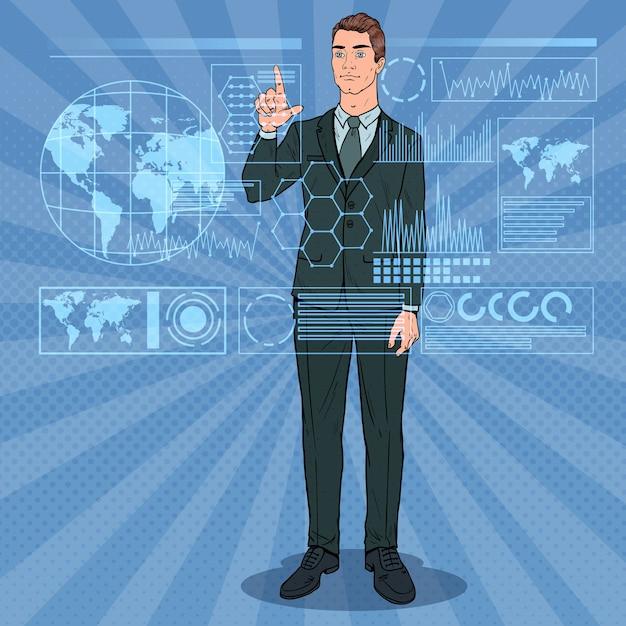 Pop-art-geschäftsmann, der virtuelle holographische schnittstelle verwendet. futuristischer technologie-touchscreen. Premium Vektoren