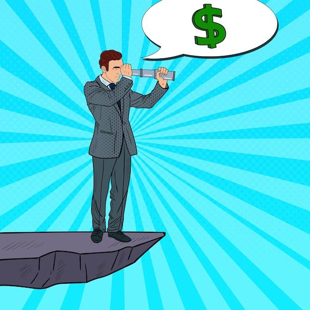 Pop-art-geschäftsmann mit fernglas auf der spitze des berges auf der suche nach geld. geschäftsinvestitionen. Premium Vektoren