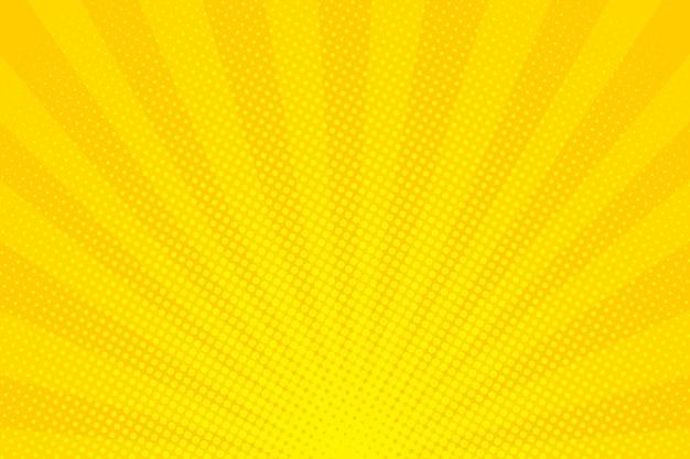 Pop-art. hintergrund mit punkten. gelber comic-hintergrund. cartoon lustiges retro-muster. vektorillustration Premium Vektoren