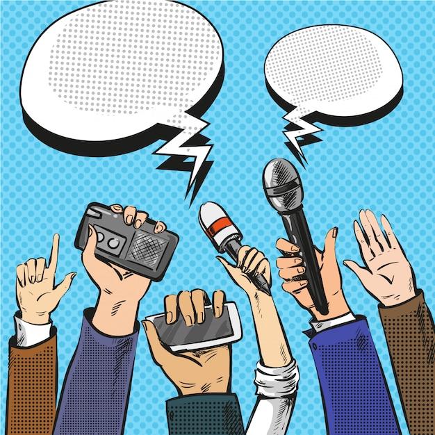 Pop-art-illustration von reportern die hände mit mikrofonen Premium Vektoren