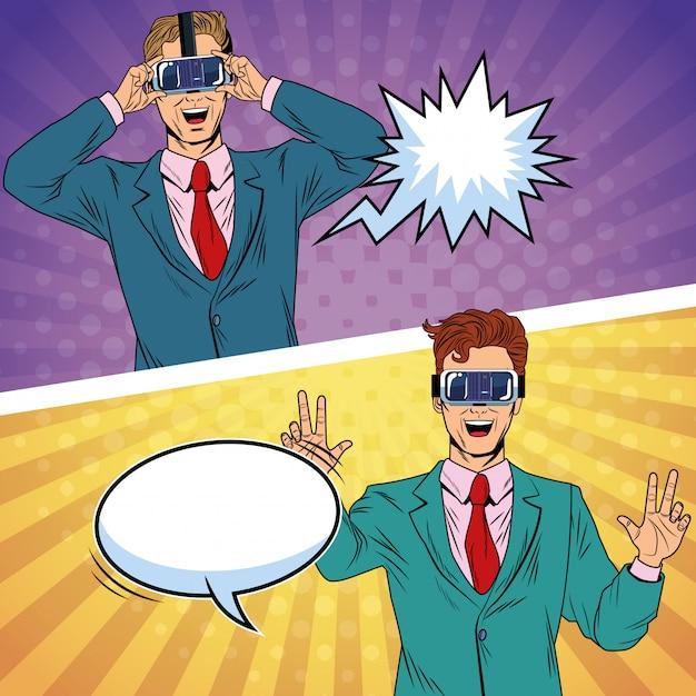 Pop-art-karikatur der geschäftsmannvirtuellen realität Premium Vektoren