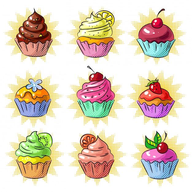Pop-art lecker cupcake patch oder aufkleber-set Premium Vektoren