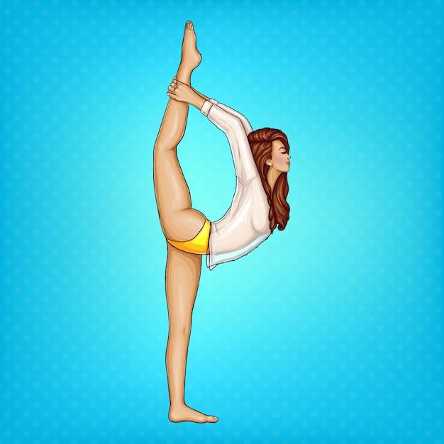 Pop-art-mädchen in transparente bluse und gelben höschen machen gymnastik oder yoga Kostenlosen Vektoren
