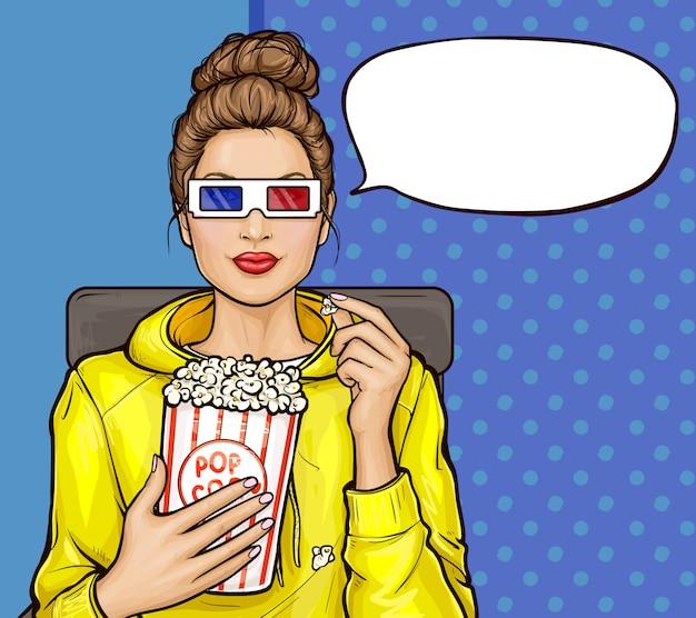 Pop-art-mädchen mit popcorn, das 3d-film ansieht Kostenlosen Vektoren