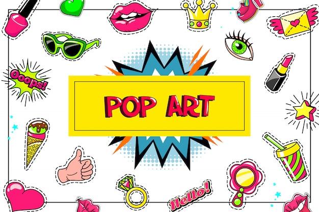 Pop-art-mode aufkleber zusammensetzung mit brillen lippenstift eis daumen daumen hoch symbol cocktail rede blase ring geflügelt buchstaben herz Premium Vektoren