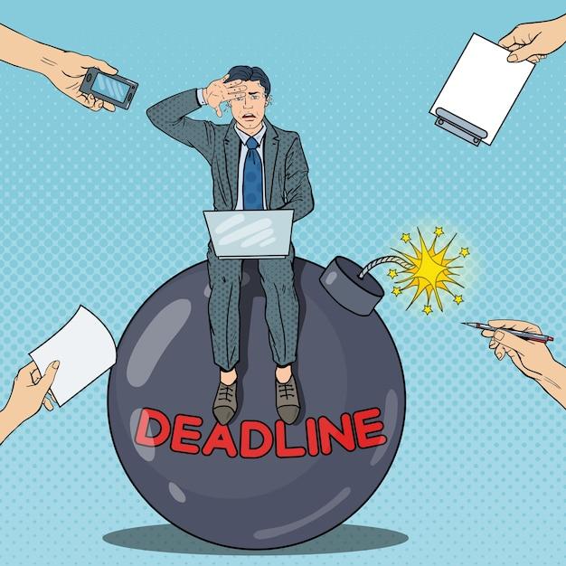 Pop-art-multitasking-geschäftsmann, der an der deadline-bombe arbeitet. Premium Vektoren