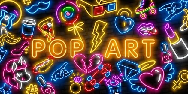 Pop-art-neon-icons gesetzt Premium Vektoren