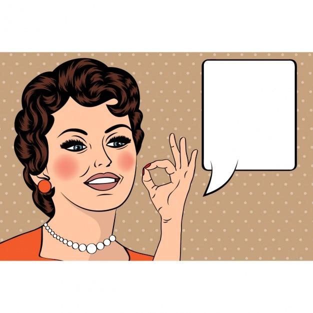 Pop-art-nette retro frau im comic-stil mit ok-zeichen vektor-illustration Kostenlosen Vektoren