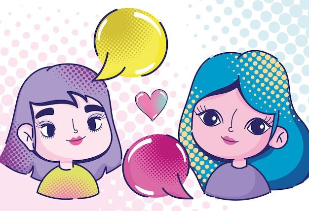 Pop-art niedliche mädchen charaktere sprechblasen und herz halbton stil illustration Premium Vektoren