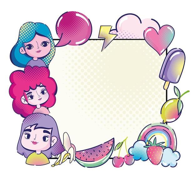 Pop-art niedliche mädchen rede blase herz früchte regenbogeneis, halbton banner illustration Premium Vektoren
