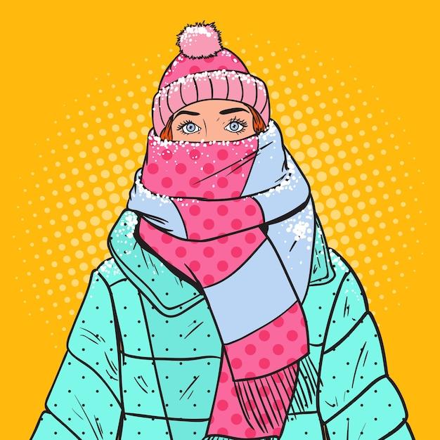 Pop-art-porträt der schönen frau in der warmen winterkleidung. kaltes wetter. Premium Vektoren