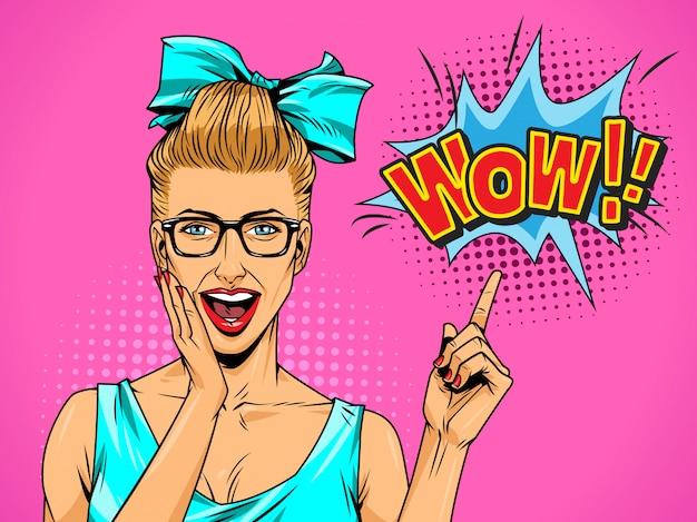 Pop-art schöne überraschte dame Kostenlosen Vektoren