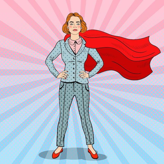 Pop art selbstbewusster superheld der geschäftsfrau im anzug mit rotem umhang. Premium Vektoren