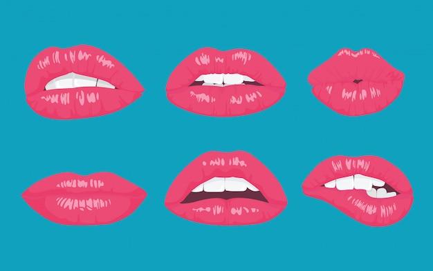 Pop-art-stil glänzende lippen Premium Vektoren