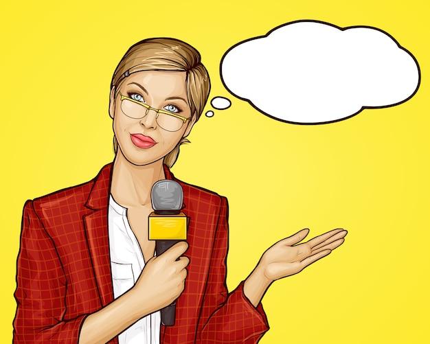 Pop-art-tv-reporterin überträgt live Kostenlosen Vektoren