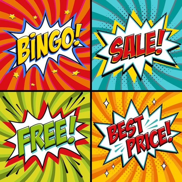 Pop-art-web-banner. bingo. kostenlos. verkauf. bestpreis. lotteriespiel hintergrund. comic-pop-art Premium Vektoren