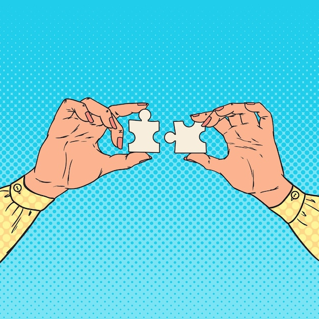 Pop art weibliche hände, die zwei puzzleteile halten. geschäftslösungskonzept. Premium Vektoren
