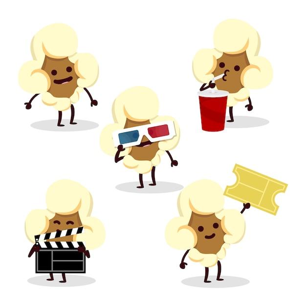 Popcorn charater set Premium Vektoren