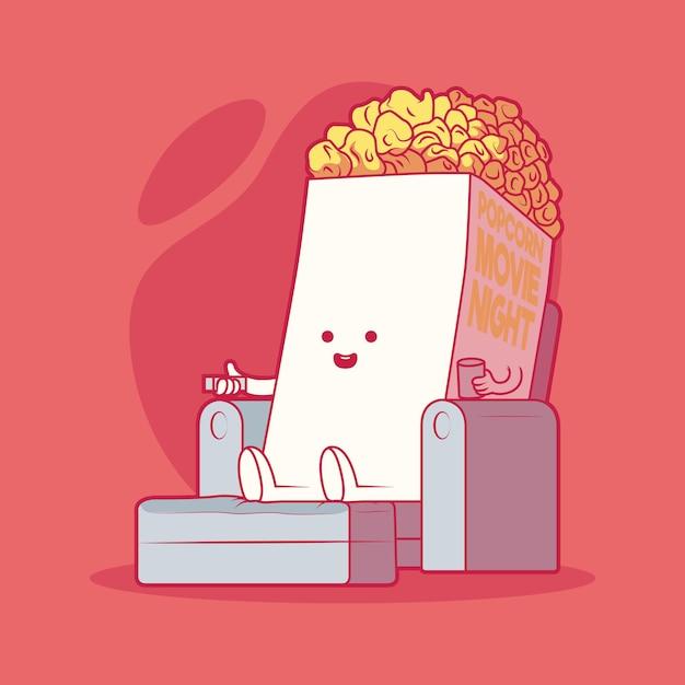 Popcorn, das filmillustration sieht. film, technologie, entspannung, food-design-konzept. Premium Vektoren
