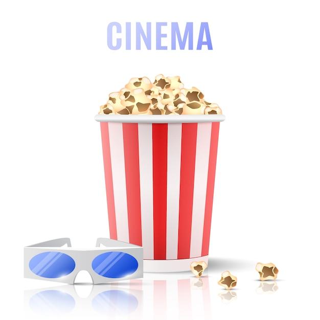 Popcorn und 3d-brille. Premium Vektoren