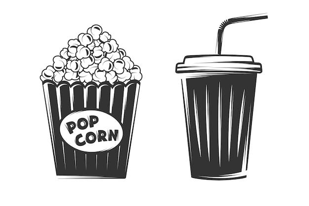 Popcorn und einwegbecher lokalisiert auf weißem hintergrund Premium Vektoren