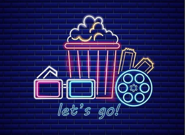 Popcorn und gläser im neonstil Premium Vektoren