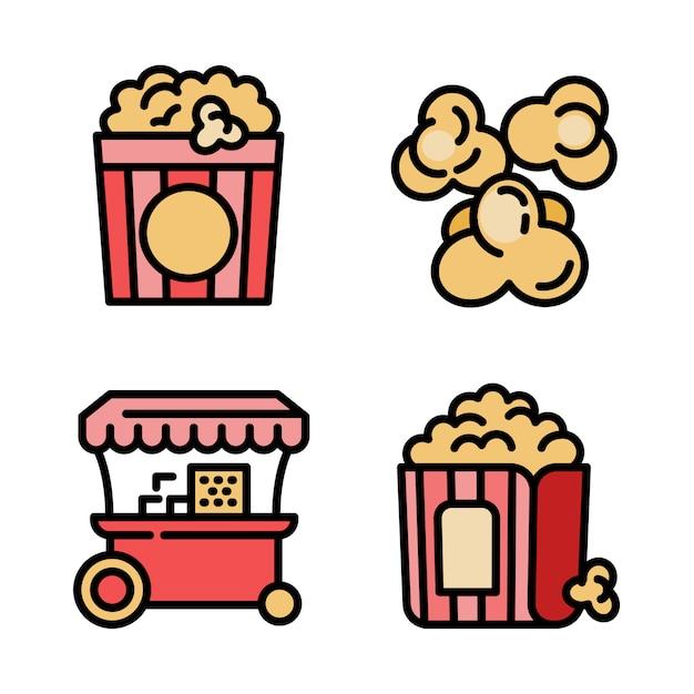 Popcornikonen eingestellt, entwurfsart Premium Vektoren