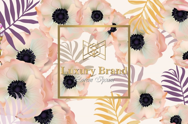 Poppy blumen luxus-design-karte vektor. hintergrund für visitenkarte, markenbuch oder poster Premium Vektoren