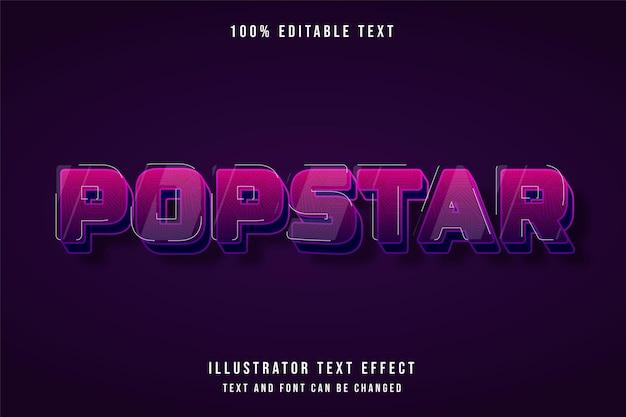 Popstar, 3d bearbeitbarer texteffekt rosa abstufung lila niedlichen schattenstileffekt Premium Vektoren