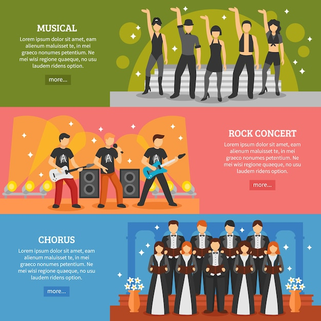Populäre musik horizontale banner Kostenlosen Vektoren