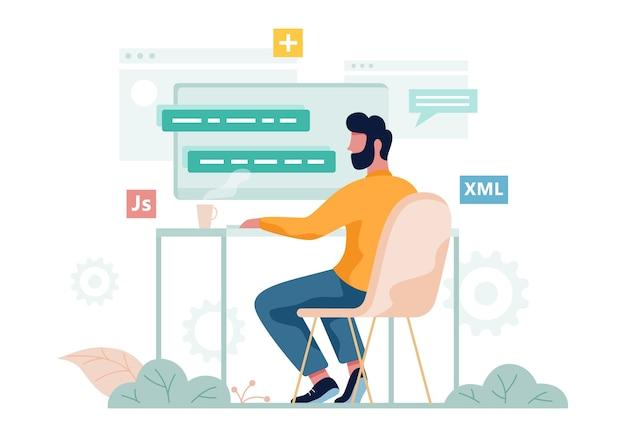 Porgrammer sitzt am schreibtisch und arbeitet am laptop. webentwickler-arbeitsplatz. softwareprogrammierung. illustration Premium Vektoren