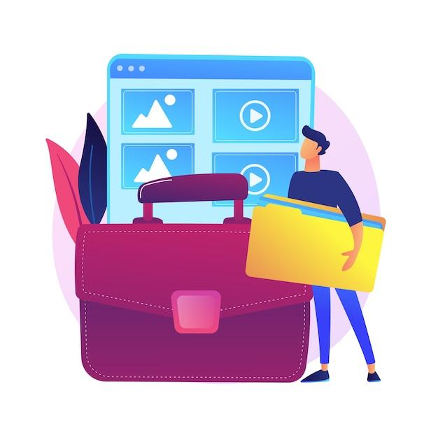 Portfolio-management. beispiele früherer projekte, werkkatalog, präsentation der fähigkeiten. erfolgreicher grafikdesigner, zeichentrickfigur des webentwicklers. Kostenlosen Vektoren
