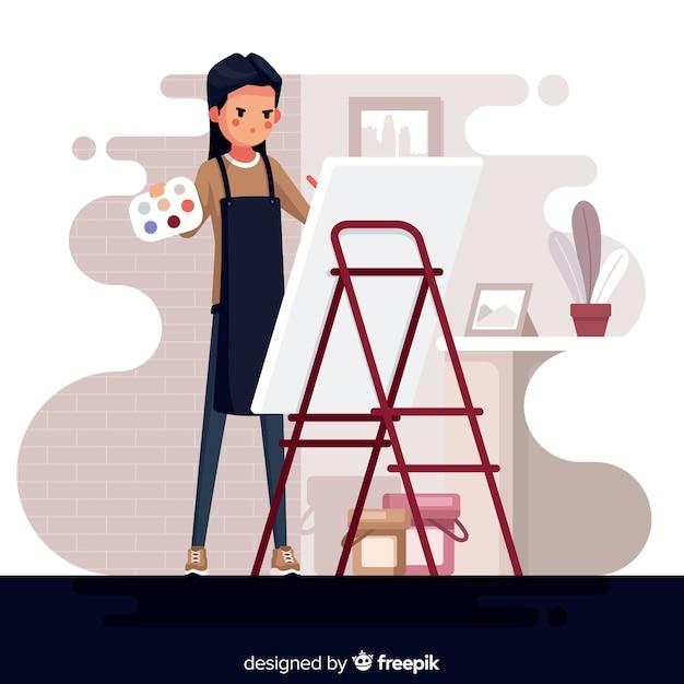 Porträt des künstlers bei der arbeit Kostenlosen Vektoren