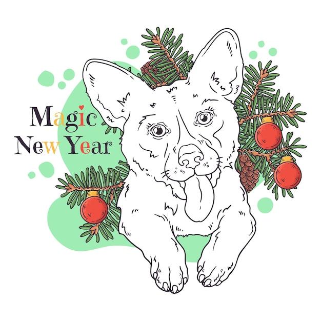 Porträt des niedlichen corgi-hundes mit weihnachtsbaum. Premium Vektoren