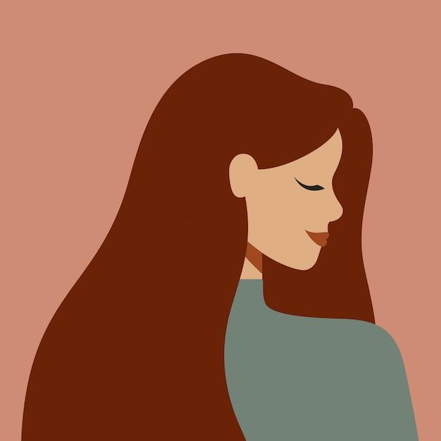 Porträt einer kaukasischen frau im profil mit dem langen haar. avatar des jungen weißen mädchens Premium Vektoren