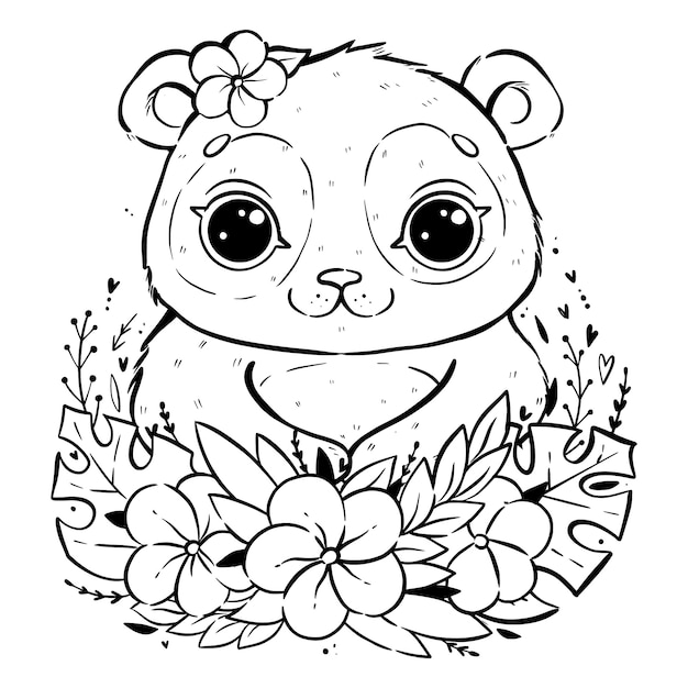 Porträt eines netten pandas mit tropischen blättern und blumen, panda mit offenen augen und mit einer blume nahe dem ohr, farbtonseite Premium Vektoren