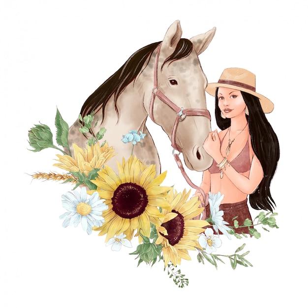 Porträt eines pferdes und eines mädchens im digitalen aquarellstil und ein blumenstrauß von sonnenblumen und gänseblümchen Premium Vektoren