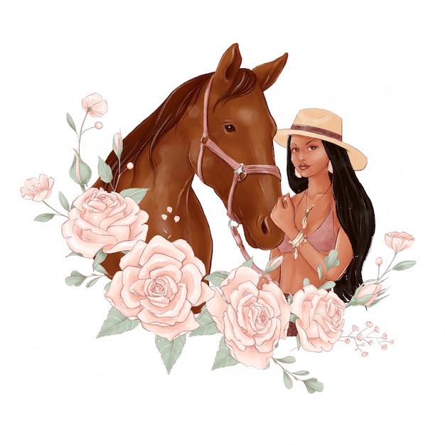 Porträt eines pferdes und eines mädchens im digitalen aquarellstil und in einem rosenstrauß Premium Vektoren